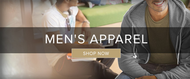 Picture of male students. Click to shop Men's Apparel now.